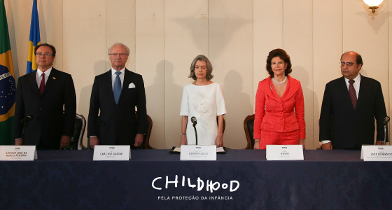 Assinatura do Termo de Cooperação Técnica entre CNJ e Childhood Brasil conta com a presença dos Reis da Suécia e ministra Cármen Lúcia