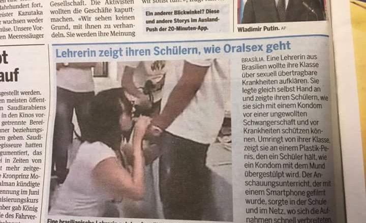 Professa que simulou sexo oral em aluno é destaque na imprensa internacional