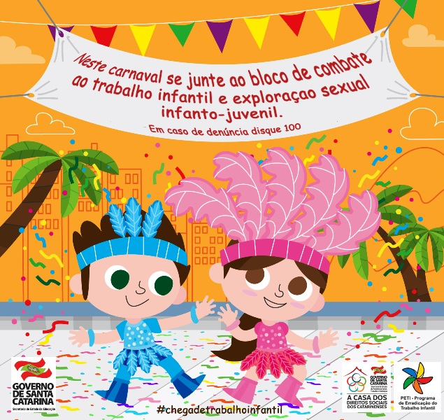 Educação reforça campanha de combate ao trabalho e abuso sexual infantil neste Carnaval